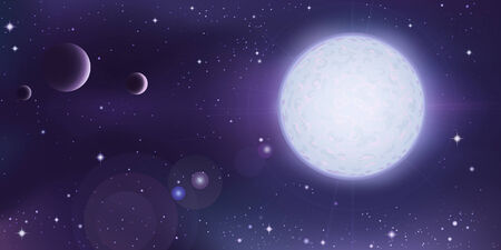 Outer space landscape - white star with a few planets in foreground Illustration