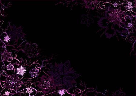 Emo styled black-and-violet fantastic floral background