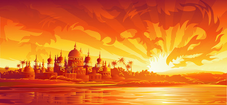 settings: Golden stad onder gouden hemel (draak versie, andere landschappen zijn in mijn album) Stock Illustratie