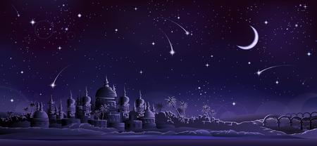 Ancient city under crescent moon