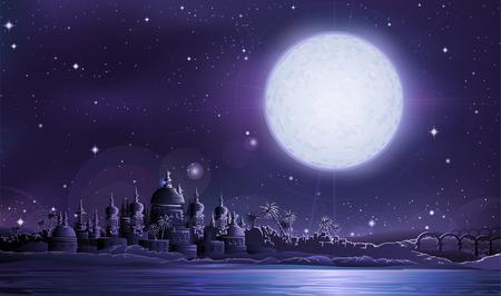 Ancient city under full moon