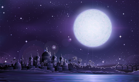volle maan: Oude stad onder volle maan