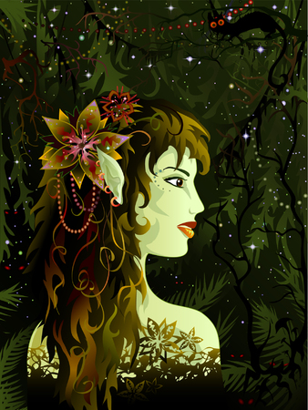 Elven maiden in the tropical forest