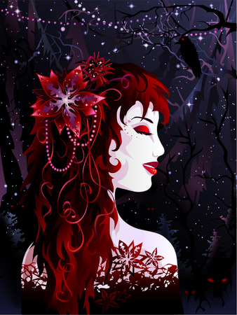 Red witch in the midnight forest Vector