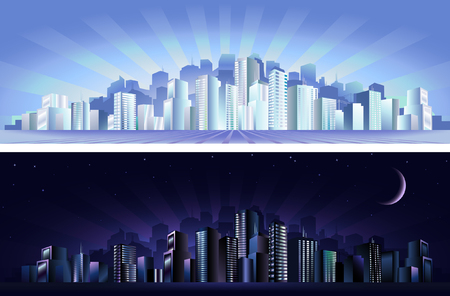 Modern city - day &amp, night  Vector