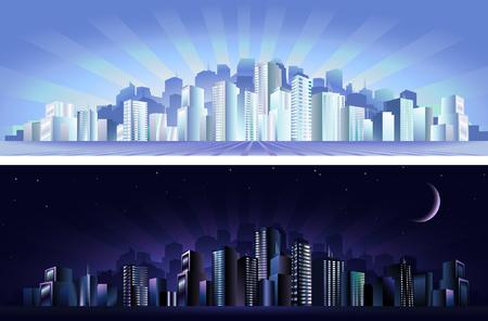 Modern city - day &, night