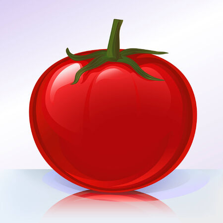 Fresh tomato on reflecting surface (other fruits andamp,amp, vegetables are in my gallery)