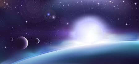 Aurora over a planet