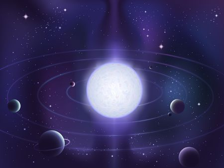Planets orbiting around a bright white star Stock Photo - 3326160