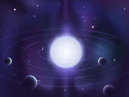 orbiting: Planets orbiting around a bright white star Stock Photo