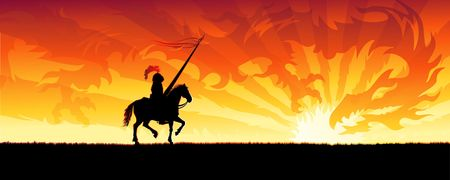 Knight riding towards a sunset sky dragon (other landscapes are in my gallery) photo