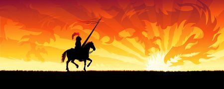Ritter reiten auf dem Weg zu einer Sonnenuntergang Himmel Drachen (andere Landschaften sind in meiner Galerie)  Standard-Bild - 3326165