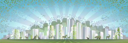 Eco city concept (another version of this image Modern City Day & Night is also in my gallery) Vector