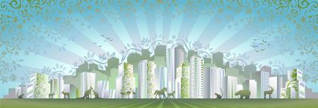 """dia y noche: Eco concepto de ciudad (otra versi�n de esta imagen de """"ciudad moderna DAY & NIGHT"""" es tambi�n en mi galer�a)  Vectores"""