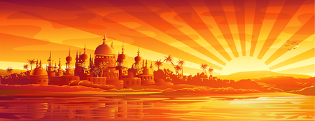 Golden city under golden sky (version with simple sky, other landscapes are in my gallery)