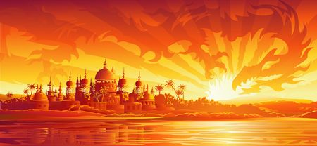 Golden city under golden sky (dragon version, other landscapes are in my gallery) photo