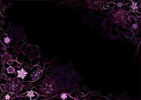 Emo styled black-and-violet fantastic floral background photo
