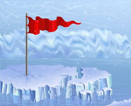 floe: Red flag on an ice floe