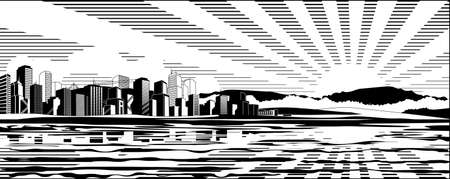 plains: Black and white cityscape (colored version Big City Sunset Panorama and other landscapes - in my gallery) Stock Photo