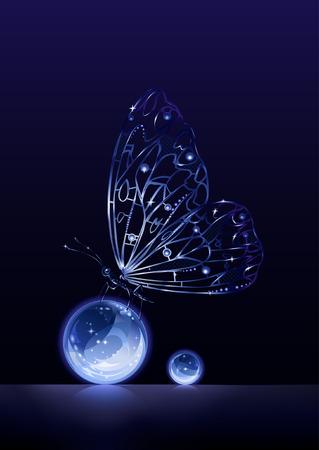 Balance (künstliche Kristall Schmetterling sitzt auf Glaskugeln)