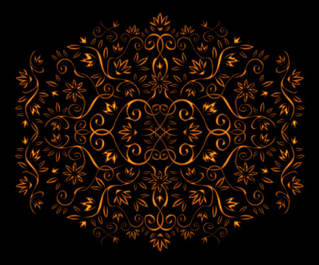 Golden floral ornament isolated on black Stock Vector - 3795545