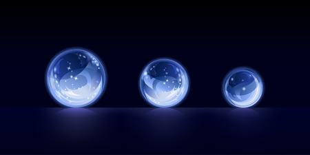 Three sparkling crystal balls
