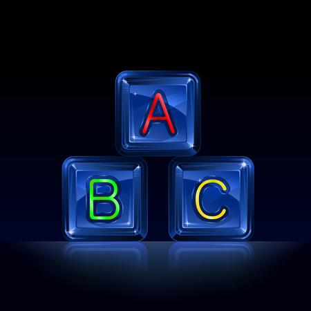 pre school: Hi-tech plastic alphabet blocks on black background Illustration
