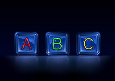 Hi-tech plastic alphabet blocks on black background Illustration