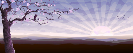 Blooming tree and a starling sitting on its branch (other landscapes are in my gallery) Illustration