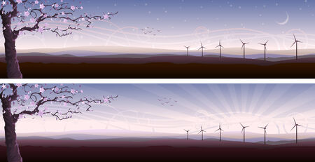 Blooming tree and several wind turbines (two variants, other landscapes are in my gallery)