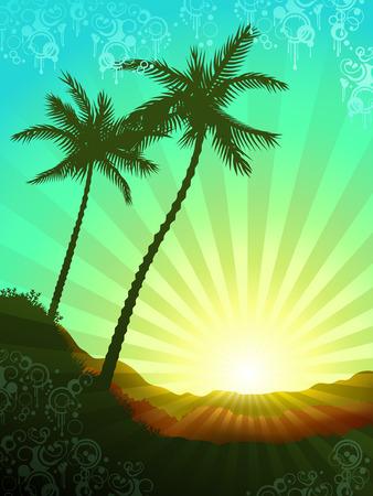 sol naciente: Hermoso amanecer tropical con elementos de decoraci�n grunge (otros paisajes est�n en mi galer�a) Vectores