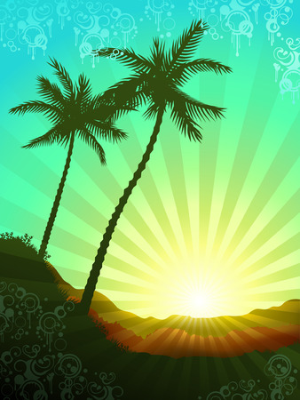 Beautiful tropical sunrise with elements of grunge decor (other landscapes are in my gallery)