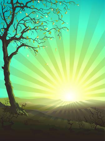 sol naciente: �rbol solitario en el primer plano y el sol en el fondo (otros paisajes est�n en mi galer�a) Vectores