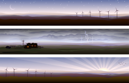 Countryside banners showing three types of weather Stock Vector - 4033266