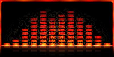 Fire-styled spectrum analyzer on black decorated background Illustration
