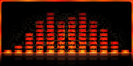 mirrored: Fire-styled spectrum analyzer on black decorated background Illustration