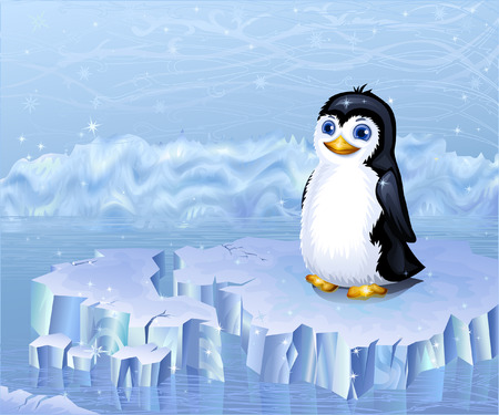 floe: Arctic landscape and a penguin sitting on an ice floe (other landscapes are in my gallery)