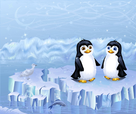 A couple of penguins sitting on an ice floe