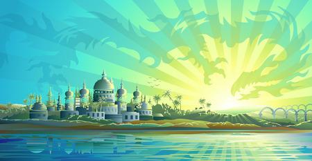 mythologie: Altstadt und ein Himmel Drachen (blaue Version, andere Landschaften sind in meiner Galerie) Illustration