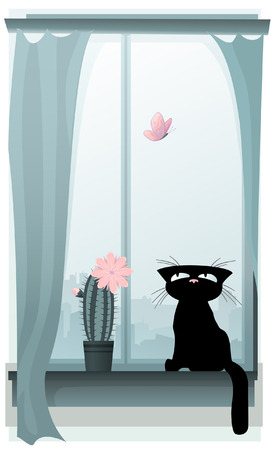 Black kitty hunting for a butterfly Vector