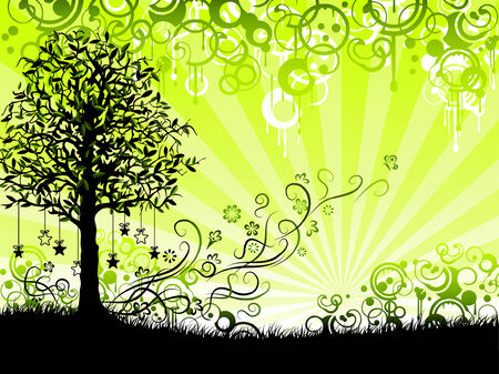 Green floral background with elements of grunge decor (other landscapes are in my gallery) Stock Vector - 4177524