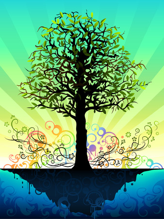 Fantastic tree on a blue floating island (other landscapes are in my gallery) Illustration