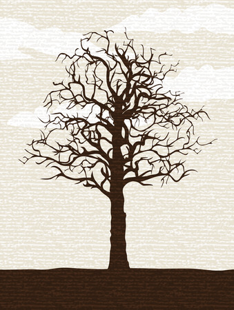 Bare lone tree painted on rough textured paper (other landscapes are in my gallery) Illustration