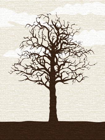 kale: Naakte lone structuur geschilderd op ruwe patroon papier (andere landschappen zijn in mijn tribune)