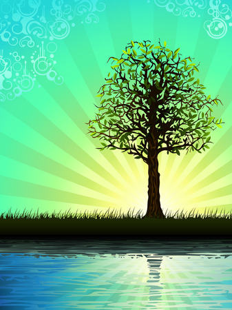 Lone tree reflecting in water (other landscapes are in my gallery) Stock Vector - 4192355