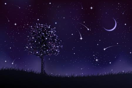 Lone Baum in der Nacht (andere Landschaften sind in meiner Galerie) Standard-Bild - 4192357