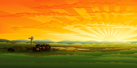 Countryside panorama in the evening (other landscapes are in my gallery) Vector