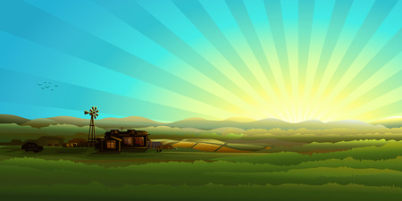 Countryside panorama in the morning (other landscapes are in my gallery) Stock Vector - 4192354