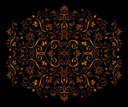 Golden floral ornament isolated on black photo