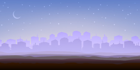 Foggy city panorama in the morning (other landscapes are in my gallery) Vector
